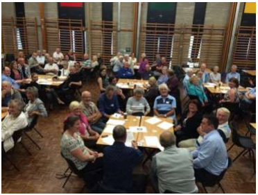 Picture of the group meeting - a large hall patients are seated around tables