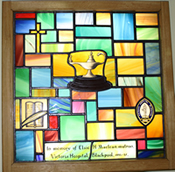 Stained glass picture with Christian imagery