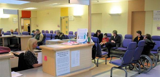 Reception and waiting area at Outpatients