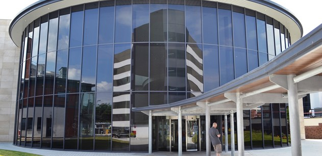 Photo of the glass-fronted main entrance to Blackpool Victoria Hospital