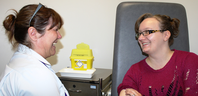 Maternity staff member with a patient in the Maternity Day Unit