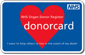 Picture of an organ donation card.  Blue with a red heart.