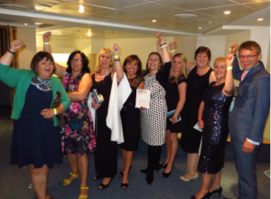 Chief Executive of the Trust, Gary Doherty with (from left), Staff Nurses Claire Fisher and Liz Goostry and members of the End of Life Lorraine Tymon, Marion Bennie, Dr Harriet Preston, Kellie Gittins, Carolyn Haydon and Dr Andrea Whitfield after the awards ceremony.