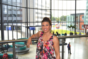 Sarah Colledge pictured in Blackpool Victoria Hospital's new main entrance