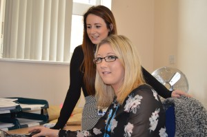 Recruitment manager Jill Evans with apprentice Katie Oliphant