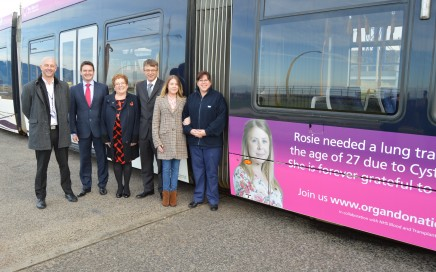 representatives of NHS Organ Donation, Blackpool Teaching Hospitals and Rosie and Jo infront of the tram