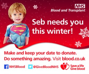 poster featuring little boy with the title Seb needs you this winter. Keep your date to donate