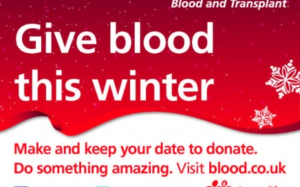 poster encouraging people to give blood this winter
