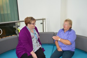 Helen Kay and Judith Butterworth discussing Patients' Panel issues