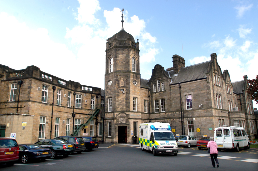 The exterior of the Royal Lancaster Infirmary - a Victorian stone building
