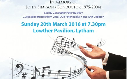 A poster advertising the event with musical notes on it
