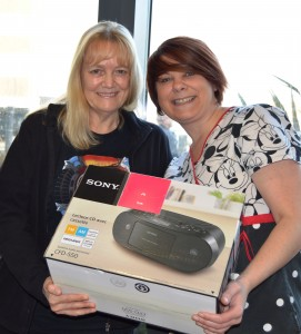 Pat Maynard and Leanne Lamb with the CD player presented from the estate of Anne Hebden