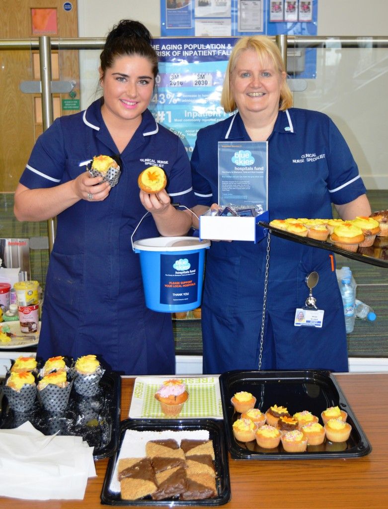 Francesca Hall and Helen Veevers raised £190 for Blue Skies Hospital Fund through cake sales