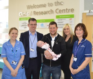 Research Nurse Gemma Spencer, Dr Paul Cahalin, Lucy-Mae Salmon, Glenn Salmon, Lindsey Drinnan and Senior Research Nurse Nicola Slawson at Blackpool Victoria Hospital's Clinical Research Centre