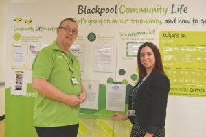 Deputy Head of Fundraising Rebecca Ferguson supports Blue Skies Hospitals Fund at Asda Blackpool with the supermarket's Community Life Champion, Neil Herdman