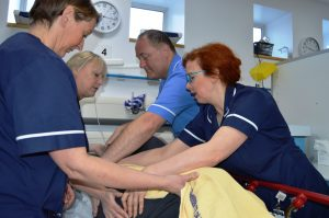 Emma Stoddard, Sharon Vickers and Sharon Ellis with staff nurse Peter McKiernan