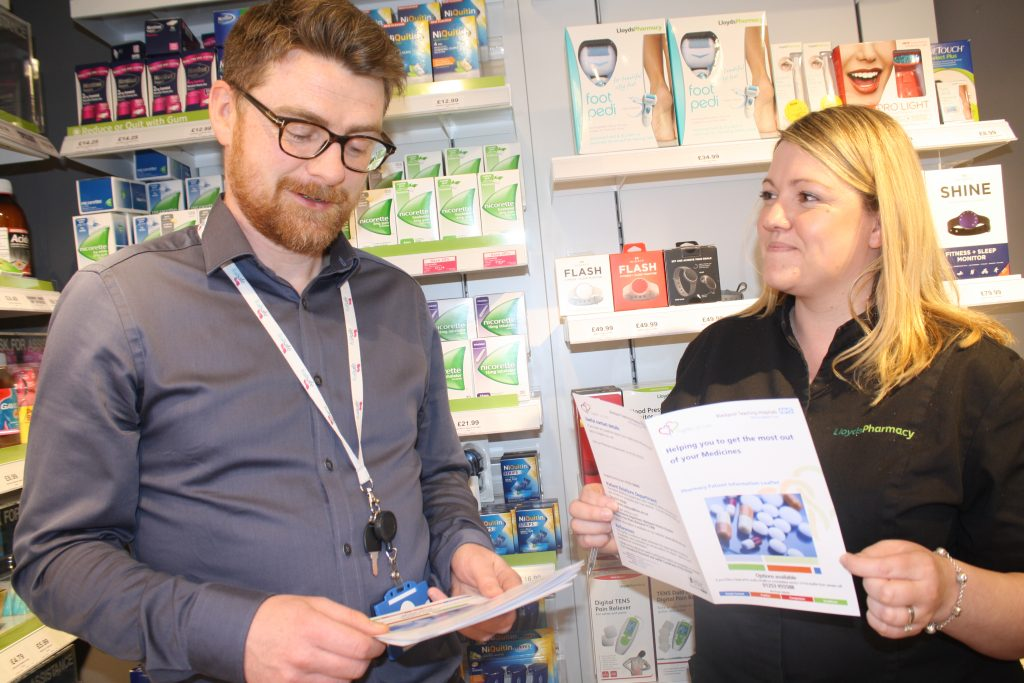 Alan Bloomer, Interface Pharmacist at Blackpool Teaching Hospital NHS Foundation Trust, describes the new community pharmacy review scheme to Clare Dale from Lloyds Pharmacy