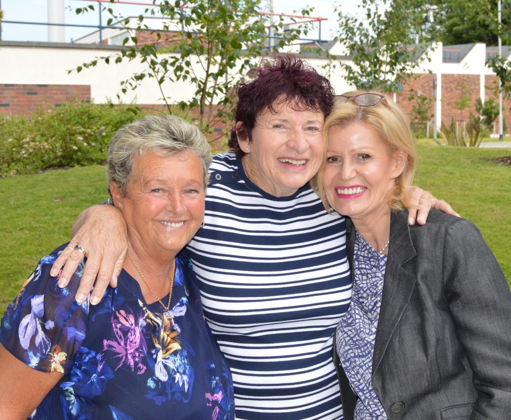 Diana De Gilio (centre) with Sandra Peet (left) and Nicola Seymour from the Phoenix Bowel Cancer Support Group at Blackpool Victoria Hospital