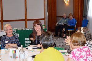 Katie Rimmer (centre) with one of the discussion groups