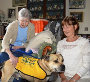 Patient Jacqueline Briggs with Diane Ogden and PAT dog Dandy