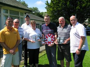 Tournament winner Rick Plowman with Karen Snape, Alan Lewis, Trust staff and supporters