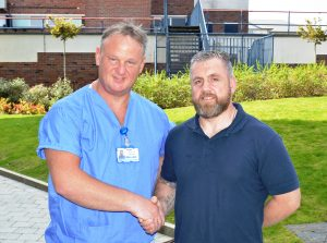 Peter Mowbray with Darren Fisher at Blackpool Victoria Hospital