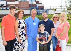From left: Bradley Mowbray, Louise Mowbray, Peter Mowbray, Darren Fisher, Kaiden Fisher, 7, Darren's mum Helen Fisher and his wife Colette Fisher at Blackpool Victoria Hospital