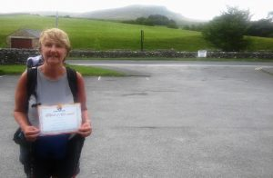 Michelle Boland with her Three Peaks certificate