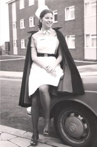 A nurse outside the accommodation block in the 1970s