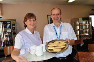 Housekeeper Debbie Drummond and ward clerk David Rafferty at the Carers' Café at Clifton Hospital.
