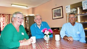 Peter Lyttle (right) with Pauline and Jack Davies at the first Carers' Café at Clifton Hospital.