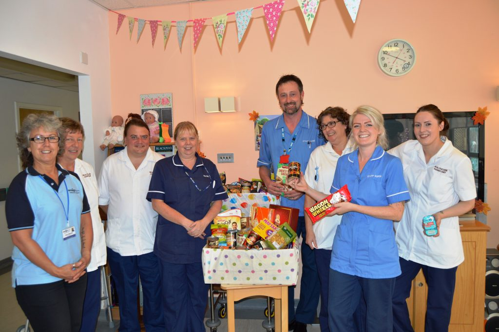 Staff at Clifton Hospital who donated food during the Harvest Festival, (from left): Karen Walmsley, falls risk nurse; Jenny Nicholas, healthcare assistant; Ben Warner, healthcare assistant; Tracy Caines, ward sister; Ian Moxham, staff nurse; Tracey Beck, healthcare assistant; Felicity Broadhurst, staff nurse and Lucy Jardine, healthcare assistant.