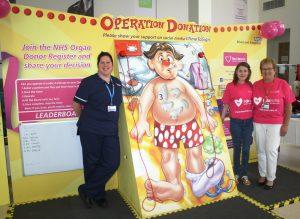 Lee Alexander, Rosie Neath and Jo Haythornthwaite promote organ donation at Blackpool Victoria Hospital