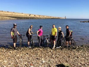 Members of the Cardiothoracic Team as they complete their Coast to Coast cycle