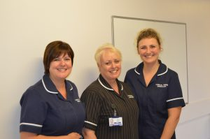 Jenny McDonald, Clinical Nurse Specialist for Acute Pain (right), with Lisa Doughty, Nurse Specialist Lead for Acute Pain and Clinical Matron, Paula Vernon (centre)