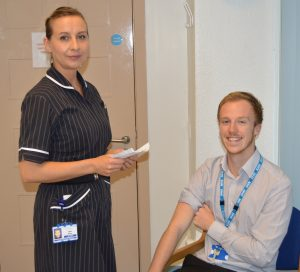 Occupational Health Nurse, Luba Elson, with Occupational Health Admin Assistant, Joe Ratcliffe