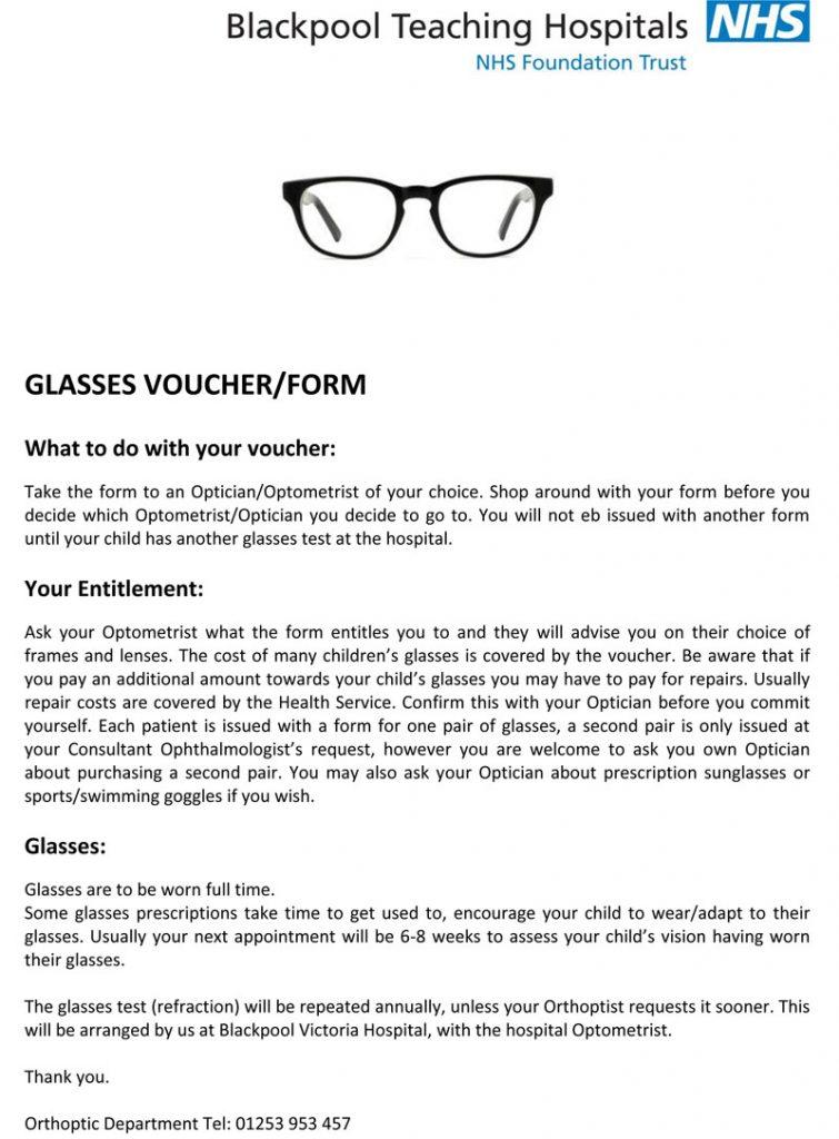 Information on Glasses Voucher/Form