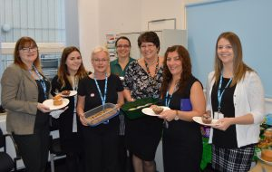 Staff from the Aster Offices including Jayne Taylor (third from left) and Debbie Stanhope (fifth from left)