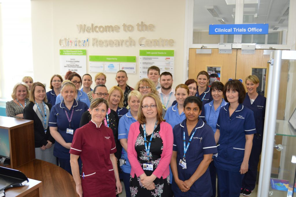 Some of the research team members at Blackpool Victoria Hospital's Clinical Research Centre