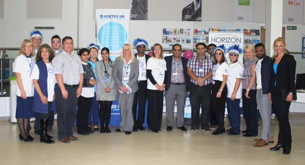 The Trust's Chief Executive (Interim), Wendy Swift (centre, in grey suit), with diabetes specialist staff from the Trust and representatives of Diabetes UKat Blackpool Victoria Hosapital on Monday, November 14, to mark World Diabetes Day