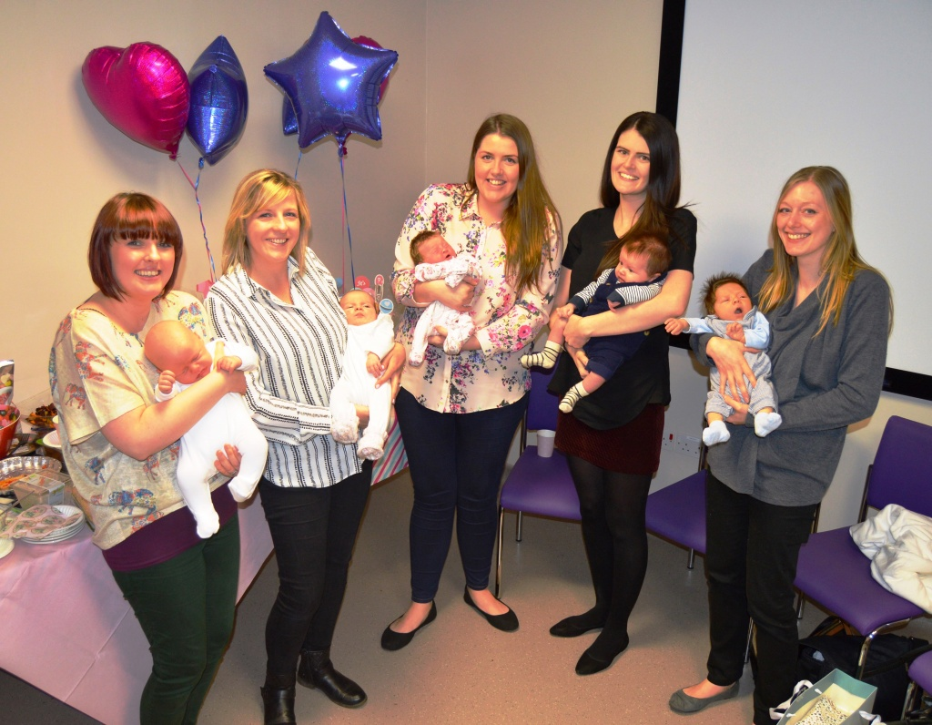 Midwife Lucy Atkins with Percy; midwife Sarah Banks with Ellie; healthcare assistant Kirsty Barcock with Ella, midwife Jenny Fogg with Oscar and Cathryn Parkinson with William