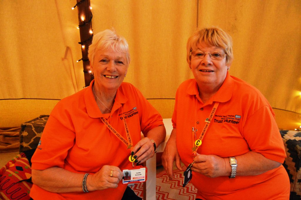 Trust Volunteers  Linda Howarth and Kath Menzies in the tepee
