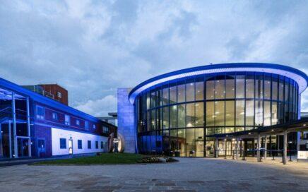 Blackpool Victoria Hospital lit blue