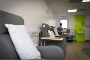 A nurse works in the new Acute Oncology Triage Unit at Blackpool Victoria Hospital