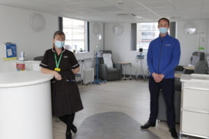 Matron Amanda Singleton and Rosemere Chief Officer Dan Hill in the new Acute Oncology Triage Unit at Blackpool Victoria Hospital