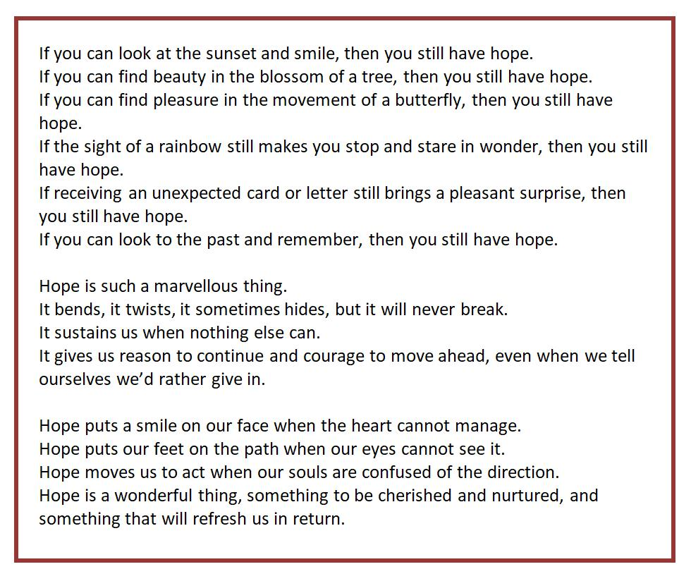 Poem 'For we still have hope'