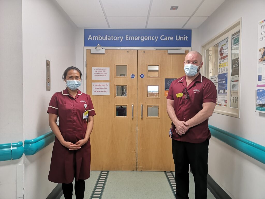 Advanced Clinical Practitioners, Mary Erica Diaz-Santos and Liam Duffy from the Ambulatory Emergency Care Unit