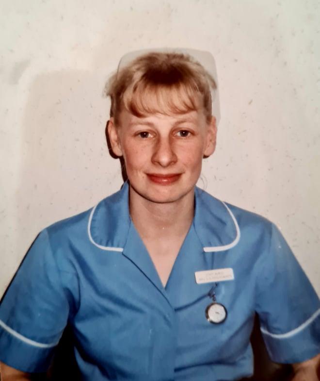 Sue Houldsworth as a young nurse