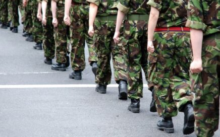 Stock picture of marching Army